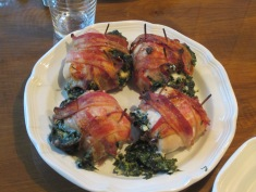 Spinach stuffed, bacon wrapped chicken breasts