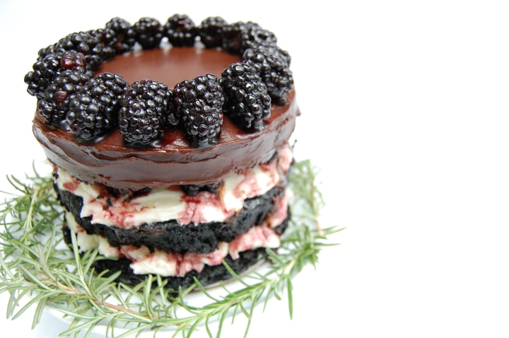 a birthday black(berry) forest cake for molly yeh!
