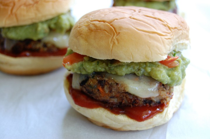 spicy black bean sliders with swiss andguacamole