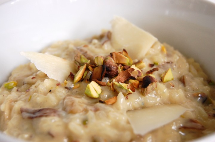 gorgonzola dolce risotto with mushrooms and charred pistachios