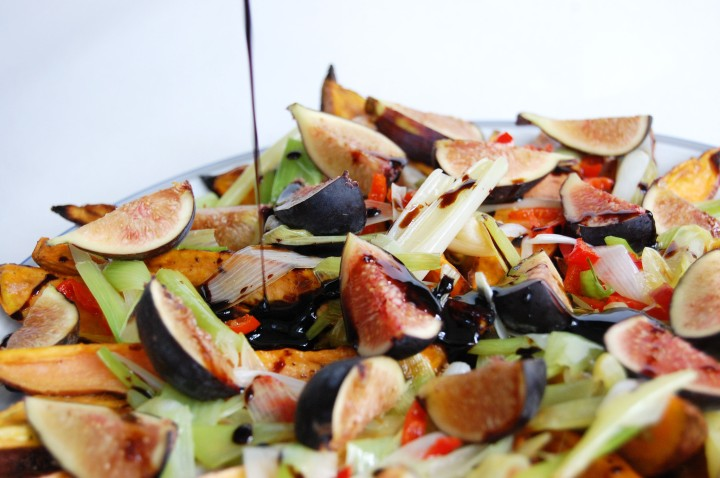roasted sweet potatoes with figs, goat cheese, and balsamic reduction