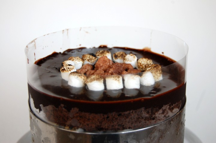 chocolate malt cake with malt fudge and charred marshmallows
