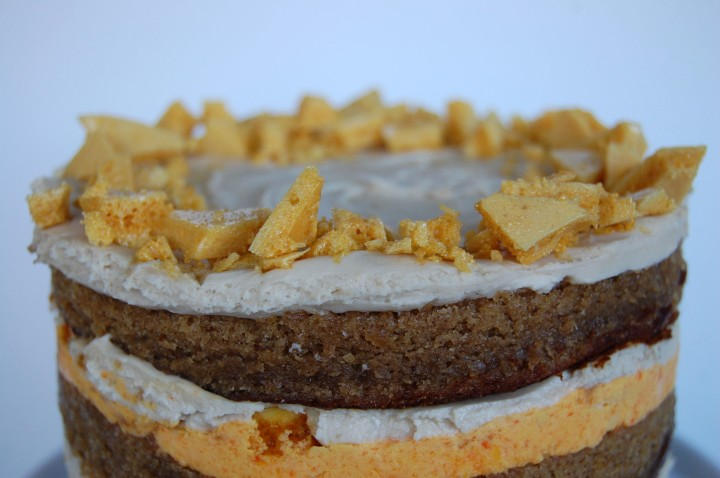 brown sugar honey cake with carrot ganache and crushed honeycomb