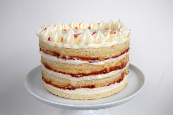 coconut cake with kaya, strawberry preserves, and lemon cream cheese buttercream
