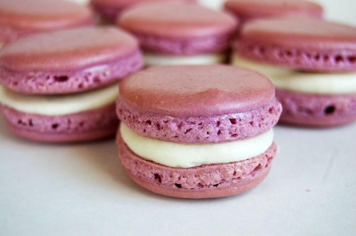 lavender peach macarons
