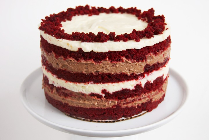 red velvet cake with chocolate and vanilla liquid cheesecake