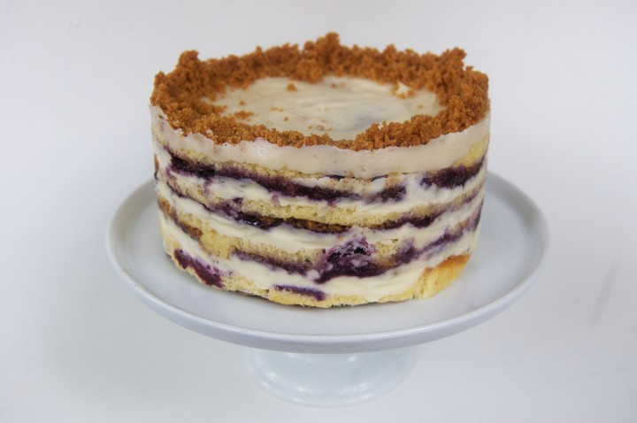 blueberry cake with liquid cheesecake and graham crumble