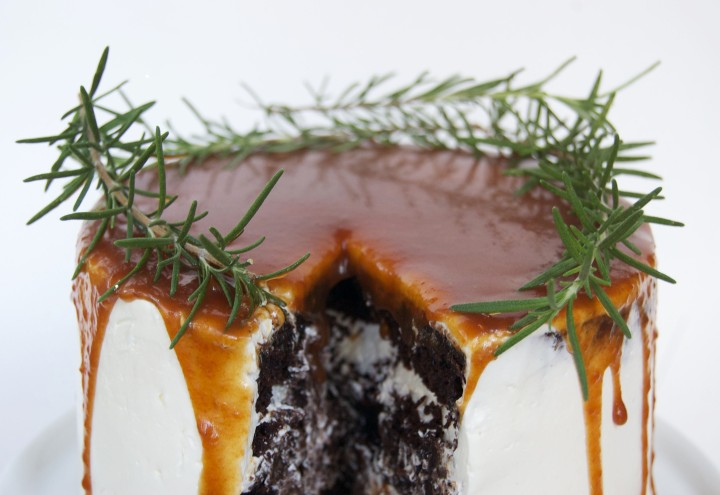 chocolate cake with rosemary caramel