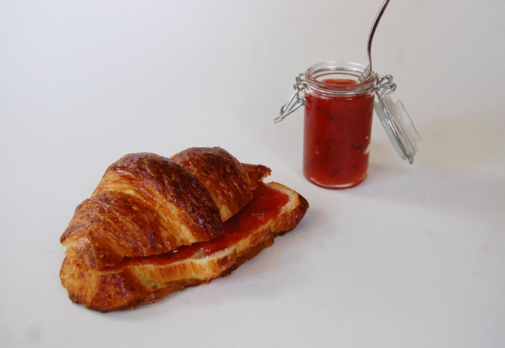 croissants with strawberry basil jam